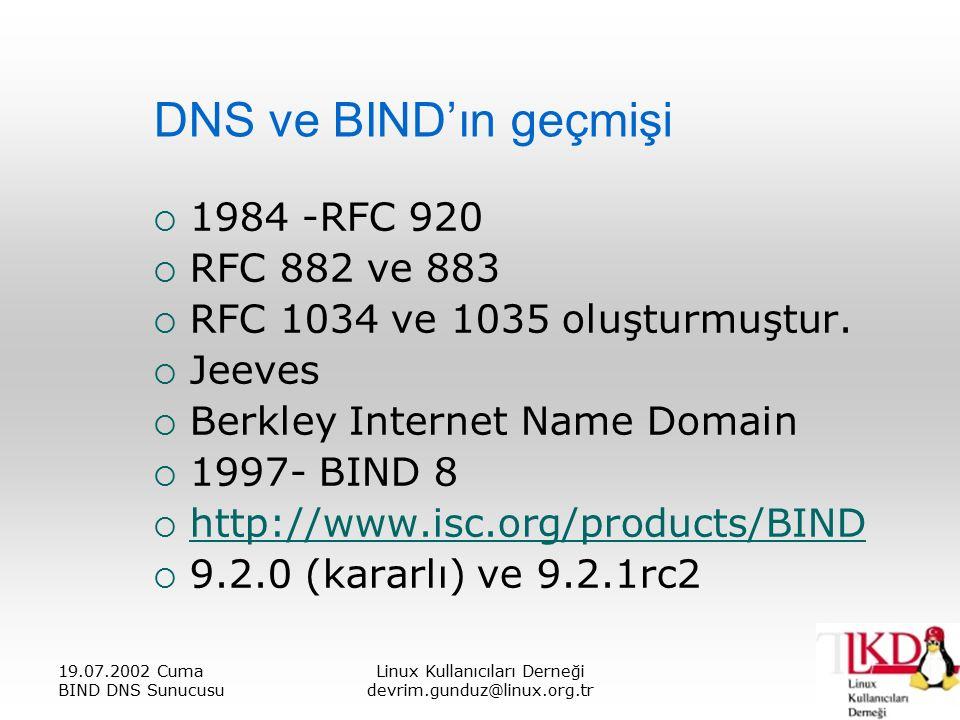 19.07.2002 Cuma BIND DNS Sunucusu Linux Kullanıcıları Derneği devrim.gunduz@linux.org.tr DNS ve BIND'ın geçmişi  1984 -RFC 920  RFC 882 ve 883  RFC 1034 ve 1035 oluşturmuştur.