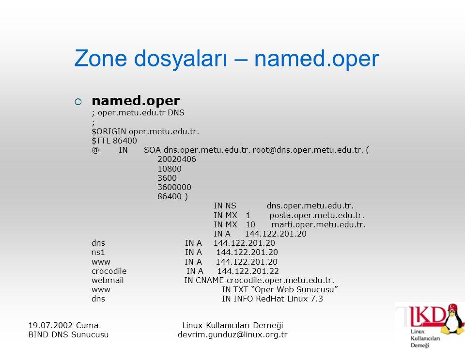 19.07.2002 Cuma BIND DNS Sunucusu Linux Kullanıcıları Derneği devrim.gunduz@linux.org.tr Zone dosyaları – named.oper  named.oper ; oper.metu.edu.tr DNS ; $ORIGIN oper.metu.edu.tr.