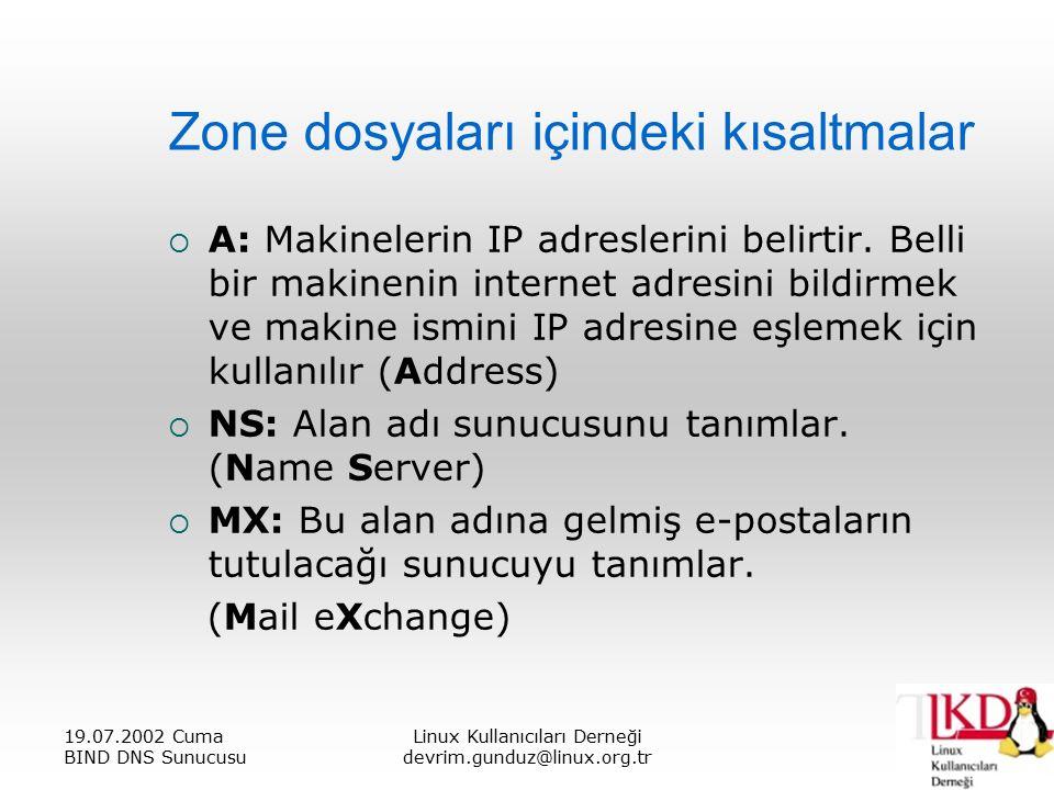 19.07.2002 Cuma BIND DNS Sunucusu Linux Kullanıcıları Derneği devrim.gunduz@linux.org.tr Zone dosyaları içindeki kısaltmalar  A: Makinelerin IP adreslerini belirtir.