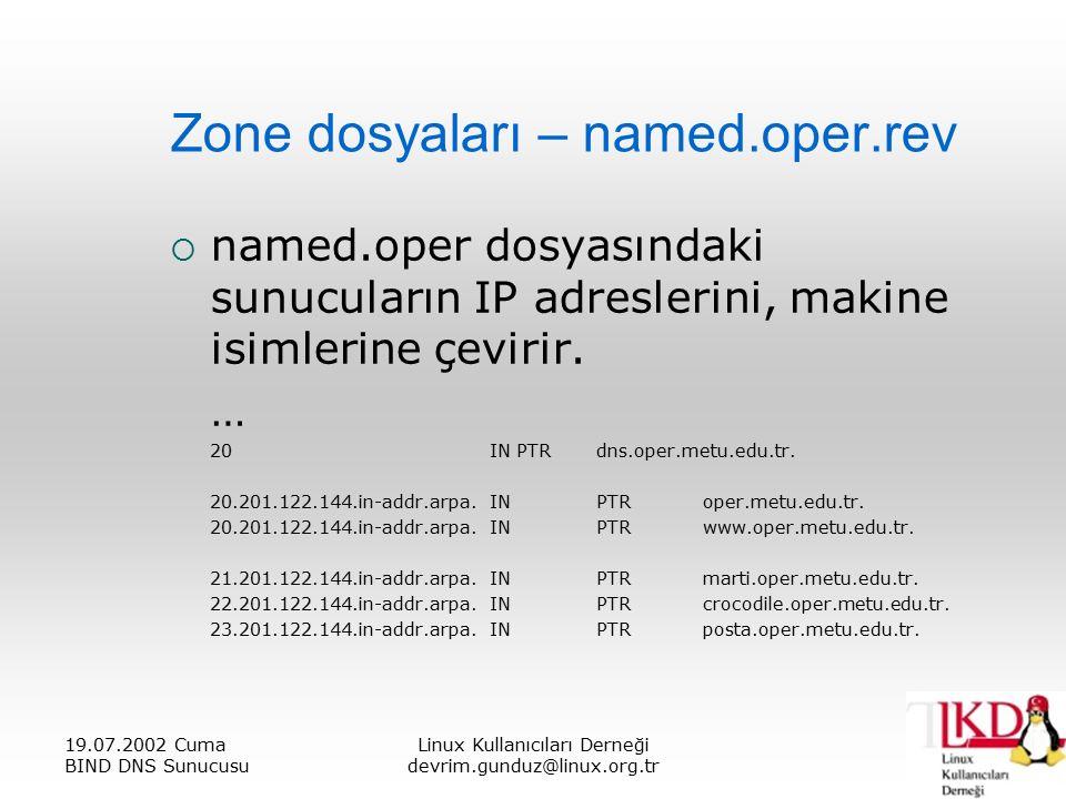 19.07.2002 Cuma BIND DNS Sunucusu Linux Kullanıcıları Derneği devrim.gunduz@linux.org.tr Zone dosyaları – named.oper.rev  named.oper dosyasındaki sunucuların IP adreslerini, makine isimlerine çevirir.
