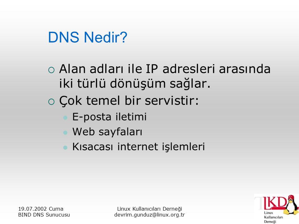 19.07.2002 Cuma BIND DNS Sunucusu Linux Kullanıcıları Derneği devrim.gunduz@linux.org.tr DNS Nedir.