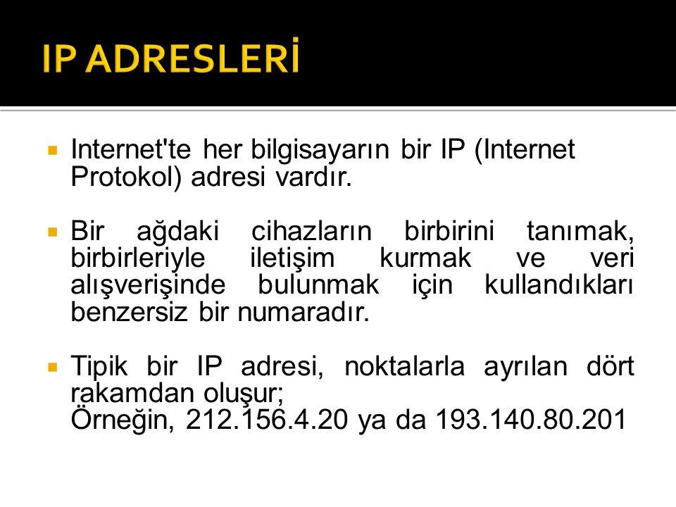  Internet'te her bilgisayarın bir IP (Internet Protokol) adresi vardır.  Bir ağdaki cihazların birbirini tanımak, birbirleriyle iletişim kurmak ve v