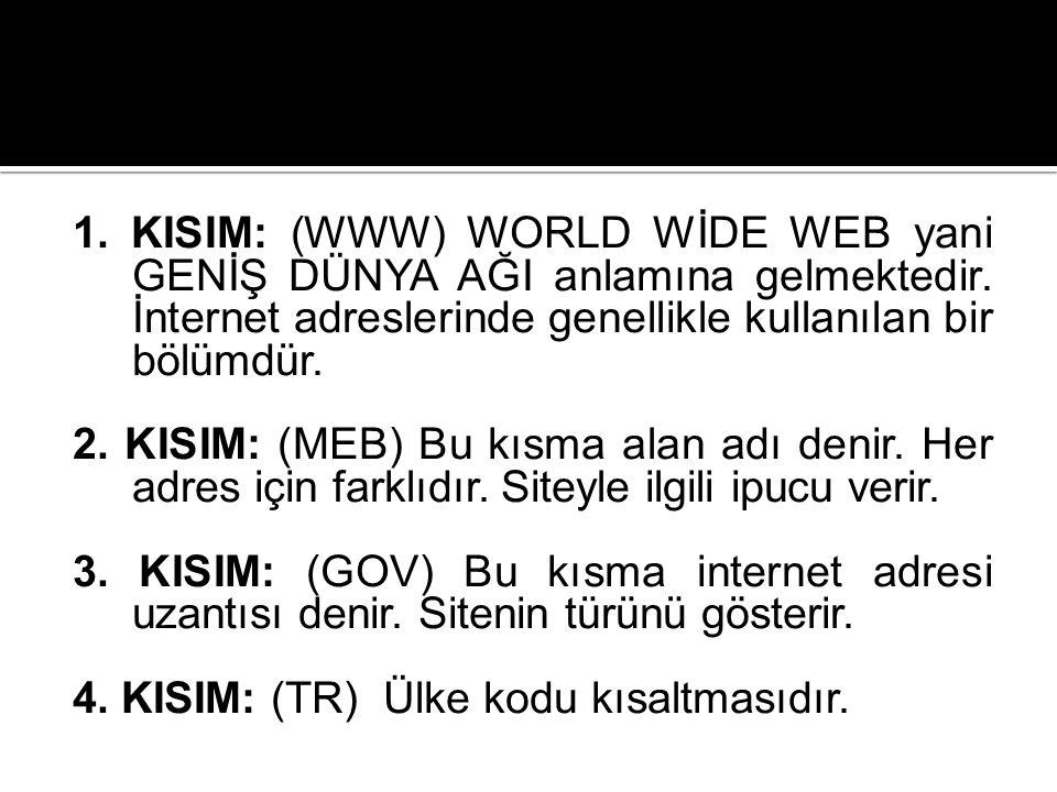 1. KISIM: (WWW) WORLD WİDE WEB yani GENİŞ DÜNYA AĞI anlamına gelmektedir. İnternet adreslerinde genellikle kullanılan bir bölümdür. 2. KISIM: (MEB) Bu