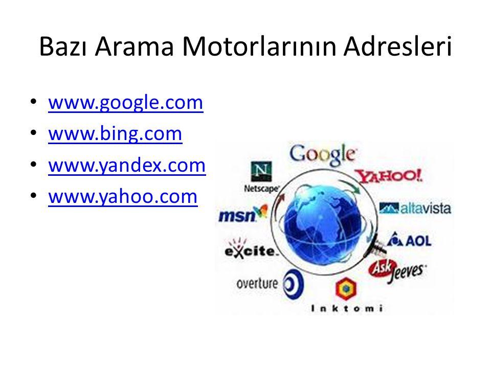 Bazı Arama Motorlarının Adresleri www.google.com www.bing.com www.yandex.com www.yahoo.com