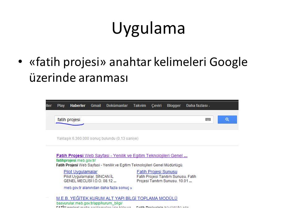 Uygulama «fatih projesi» anahtar kelimeleri Google üzerinde aranması