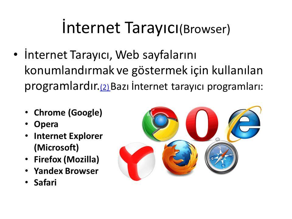 İnternet Tarayıcı (Browser) İnternet Tarayıcı, Web sayfalarını konumlandırmak ve göstermek için kullanılan programlardır.