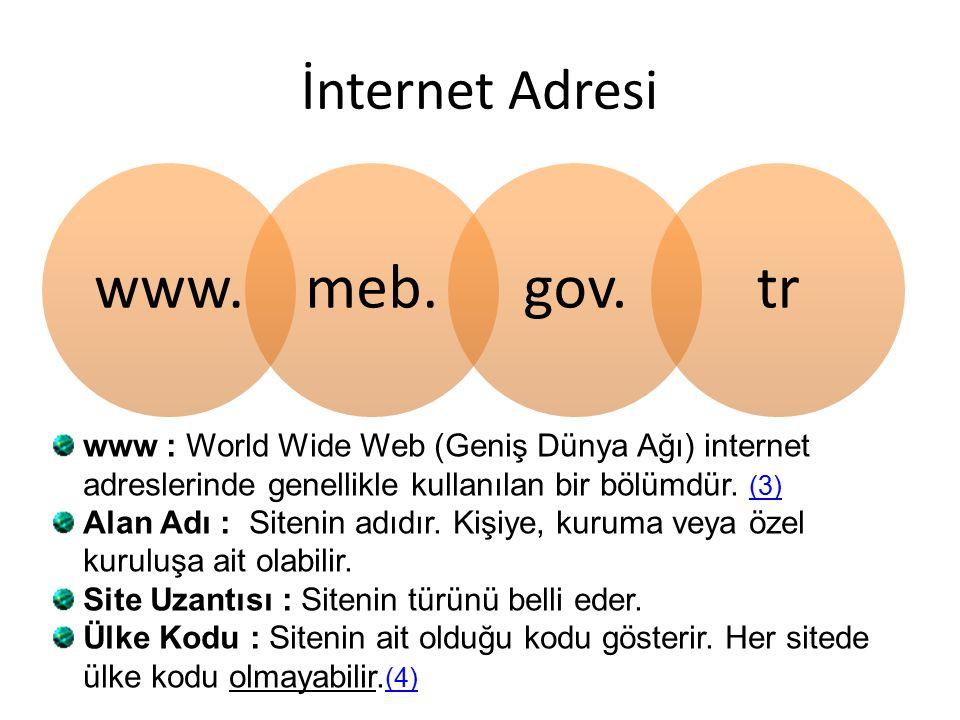 İnternet Adresi www.meb.gov.tr www : World Wide Web (Geniş Dünya Ağı) internet adreslerinde genellikle kullanılan bir bölümdür.