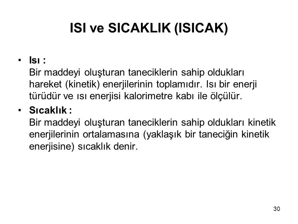 ISI ve SICAKLIK (ISICAK) Isı : Bir maddeyi oluşturan taneciklerin sahip oldukları hareket (kinetik) enerjilerinin toplamıdır. Isı bir enerji türüdür v