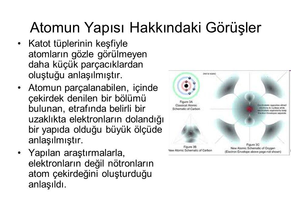 Atomun Yapısı Hakkındaki Görüşler Katot tüplerinin keşfiyle atomların gözle görülmeyen daha küçük parçacıklardan oluştuğu anlaşılmıştır. Atomun parçal