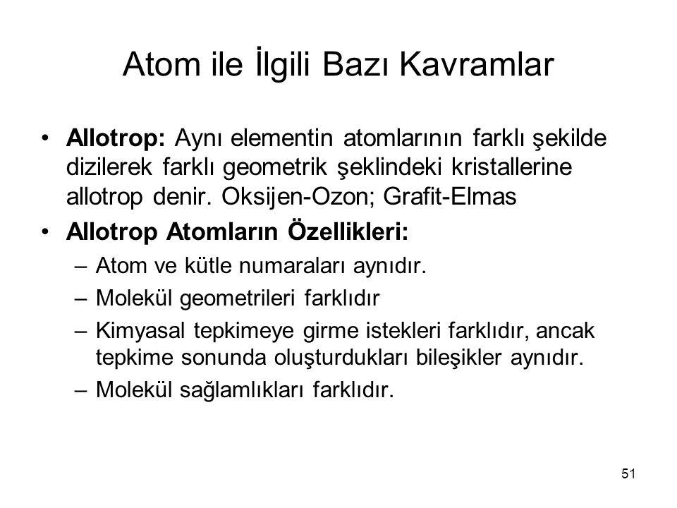 Atom ile İlgili Bazı Kavramlar Allotrop: Aynı elementin atomlarının farklı şekilde dizilerek farklı geometrik şeklindeki kristallerine allotrop denir.