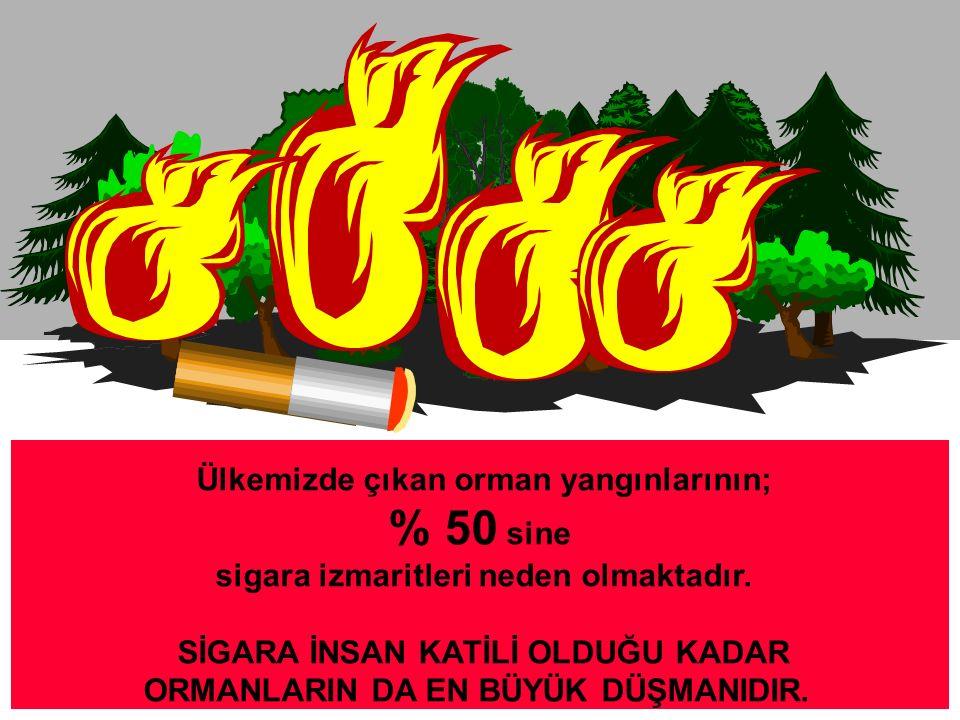 Ülkemizde çıkan orman yangınlarının; % 50 sine sigara izmaritleri neden olmaktadır.