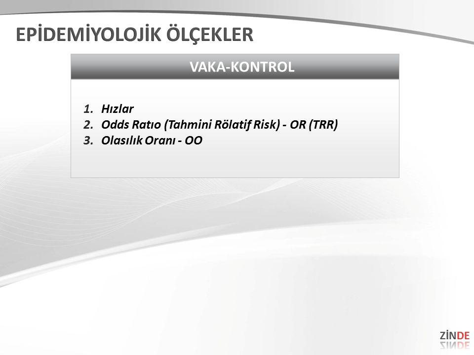 VAKA-KONTROL 1.Hızlar 2.Odds Ratıo (Tahmini Rölatif Risk) - OR (TRR) 3.Olasılık Oranı - OO