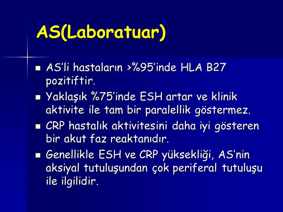AS(Laboratuar) AS'li hastaların >%95'inde HLA B27 pozitiftir. AS'li hastaların >%95'inde HLA B27 pozitiftir. Yaklaşık %75'inde ESH artar ve klinik akt