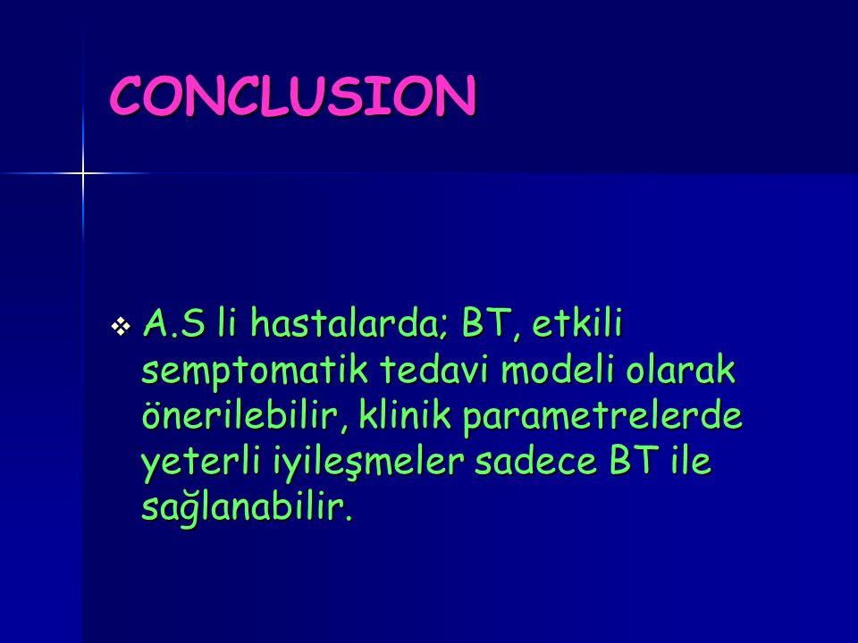 CONCLUSION  A.S li hastalarda; BT, etkili semptomatik tedavi modeli olarak önerilebilir, klinik parametrelerde yeterli iyileşmeler sadece BT ile sağl