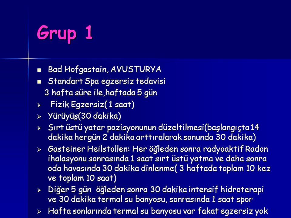 Grup 1 Bad Hofgastain, AVUSTURYA Bad Hofgastain, AVUSTURYA Standart Spa egzersiz tedavisi Standart Spa egzersiz tedavisi 3 hafta süre ile,haftada 5 gü