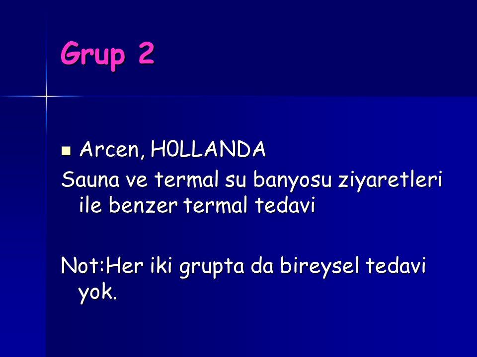Grup 2 Arcen, H0LLANDA Arcen, H0LLANDA Sauna ve termal su banyosu ziyaretleri ile benzer termal tedavi Not:Her iki grupta da bireysel tedavi yok.