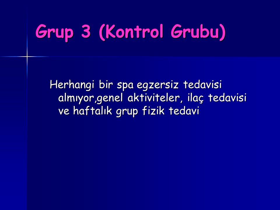 Grup 3 (Kontrol Grubu) Herhangi bir spa egzersiz tedavisi almıyor,genel aktiviteler, ilaç tedavisi ve haftalık grup fizik tedavi