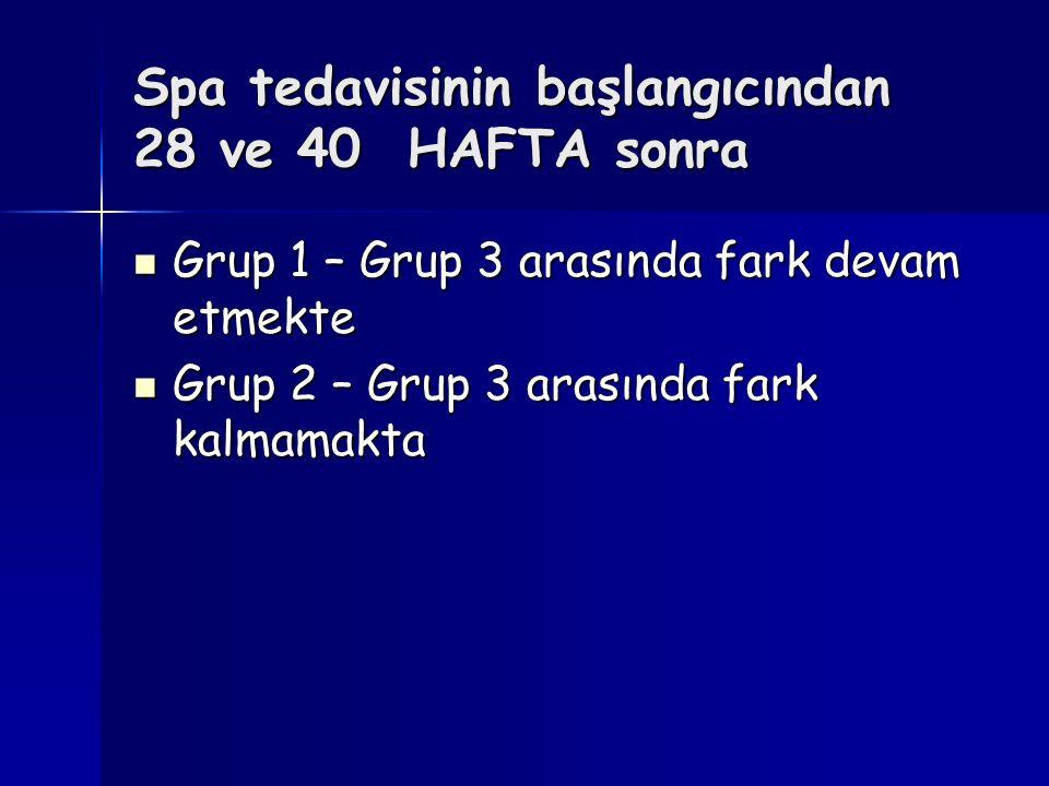 Spa tedavisinin başlangıcından 28 ve 40 HAFTA sonra Grup 1 – Grup 3 arasında fark devam etmekte Grup 1 – Grup 3 arasında fark devam etmekte Grup 2 – G