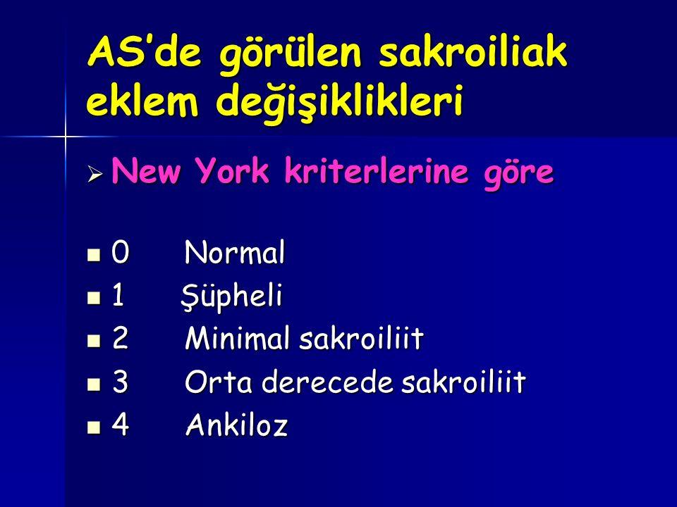 AS'de görülen sakroiliak eklem değişiklikleri  New York kriterlerine göre 0 Normal 0 Normal 1 Şüpheli 1 Şüpheli 2 Minimal sakroiliit 2 Minimal sakroi