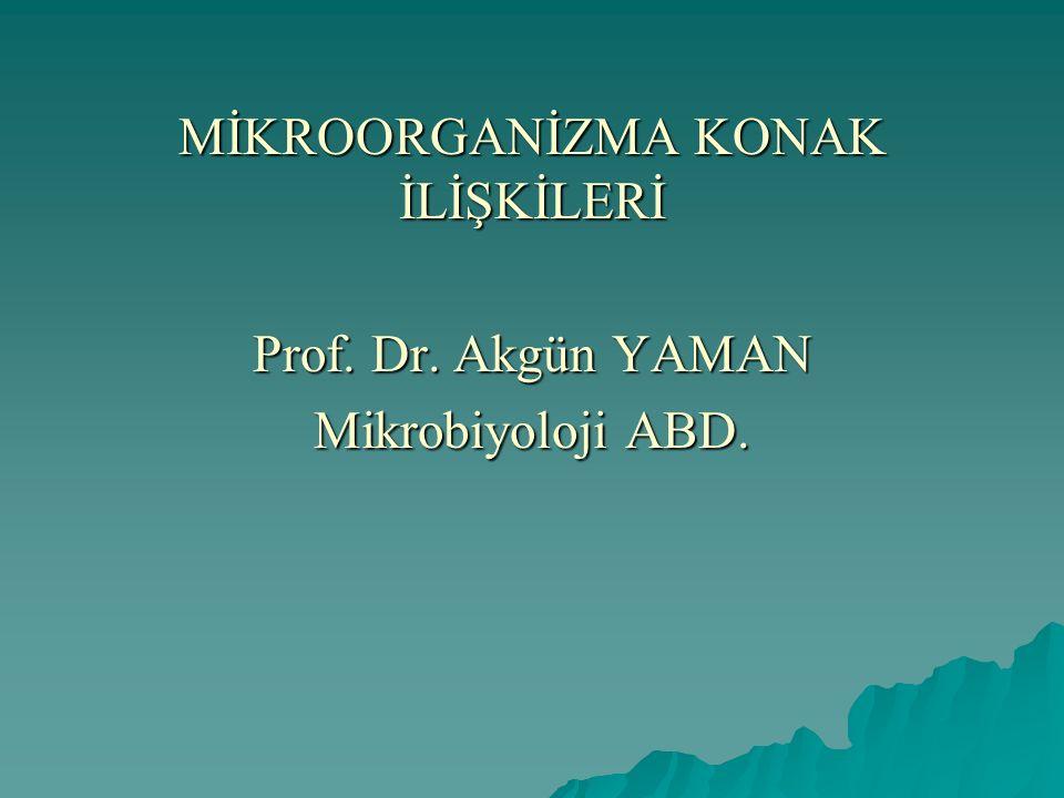 MİKROORGANİZMA KONAK İLİŞKİLERİ Prof. Dr. Akgün YAMAN Mikrobiyoloji ABD.