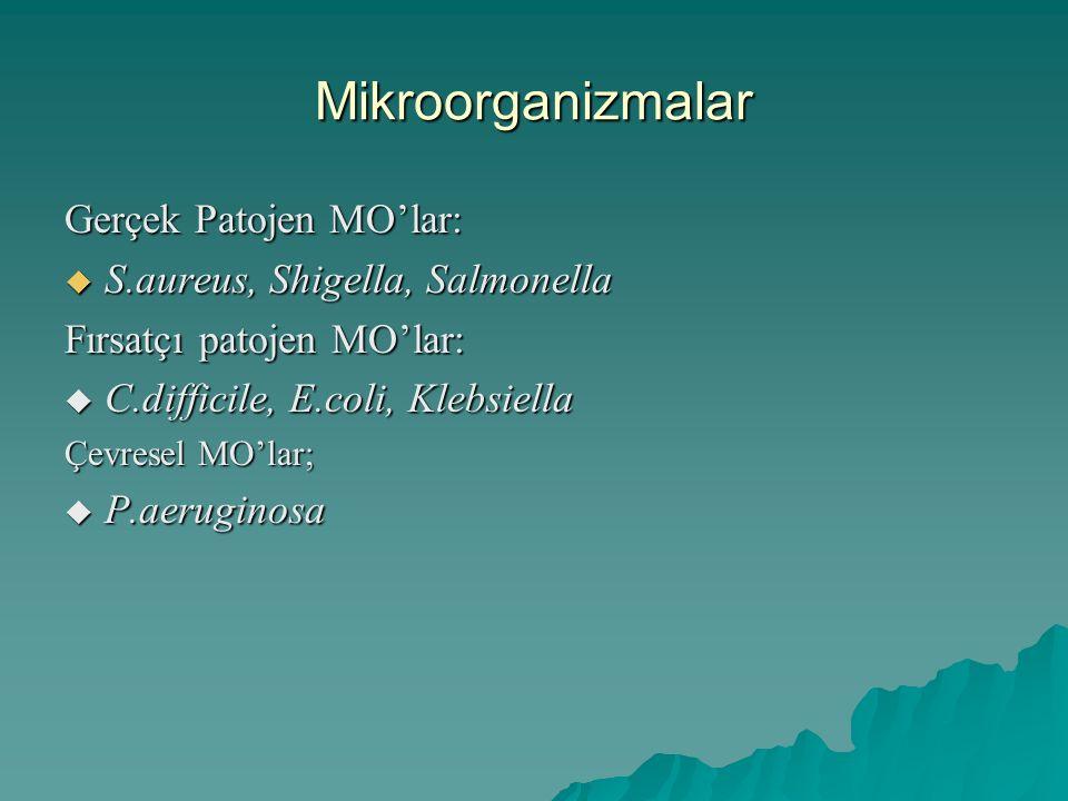 Mikroorganizmalar Gerçek Patojen MO'lar:  S.aureus, Shigella, Salmonella Fırsatçı patojen MO'lar:  C.difficile, E.coli, Klebsiella Çevresel MO'lar;