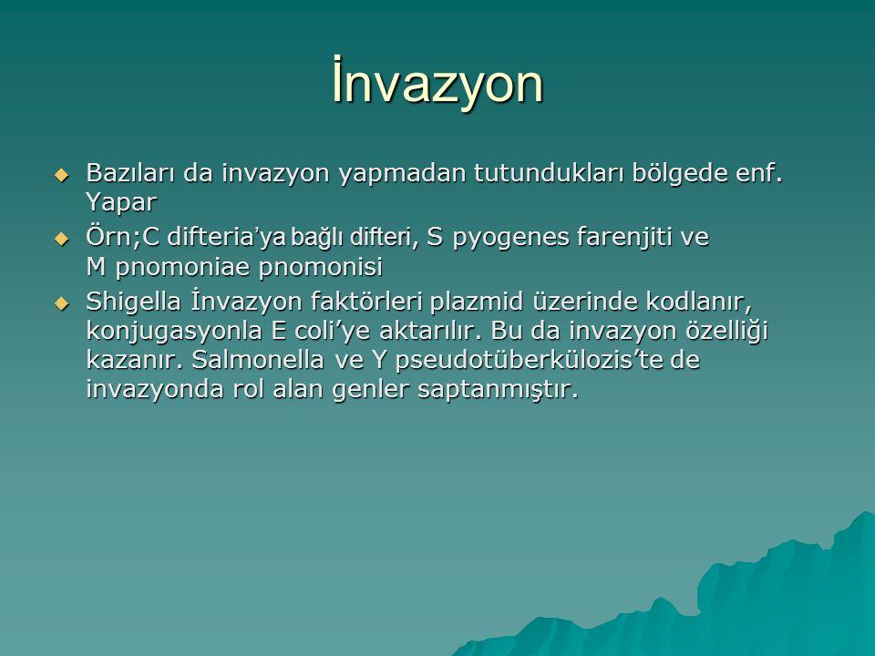 İnvazyon  Bazıları da invazyon yapmadan tutundukları bölgede enf. Yapar  Örn;C difteria 'ya bağlı difteri, S pyogenes farenjiti ve M pnomoniae pnomo