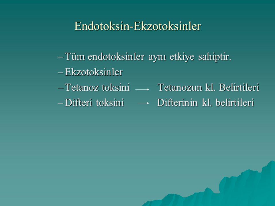 Endotoksin-Ekzotoksinler –Tüm endotoksinler aynı etkiye sahiptir. –Ekzotoksinler –Tetanoz toksini Tetanozun kl. Belirtileri –Difteri toksini Difterini