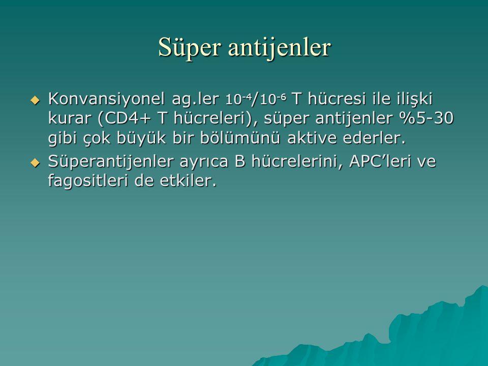 Süper antijenler  Konvansiyonel ag.ler 10 -4 / 10 -6 T hücresi ile ilişki kurar (CD4+ T hücreleri), süper antijenler %5-30 gibi çok büyük bir bölümün