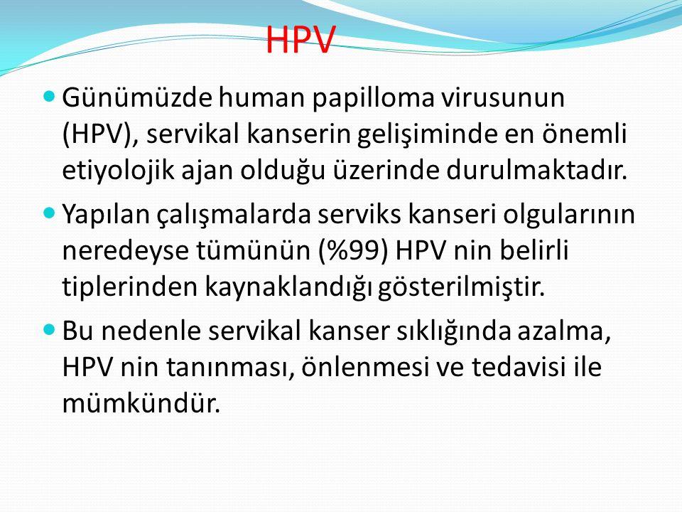 HPV ve servikal kanserler HPV nin yol açtığı servikal kanser kadın kanserleri arasında ikinci sırada gelmektedir.