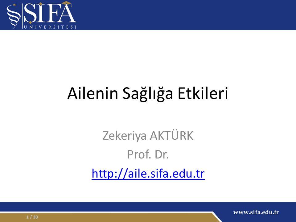 Ailenin Sağlığa Etkileri Zekeriya AKTÜRK Prof. Dr. http://aile.sifa.edu.tr / 301