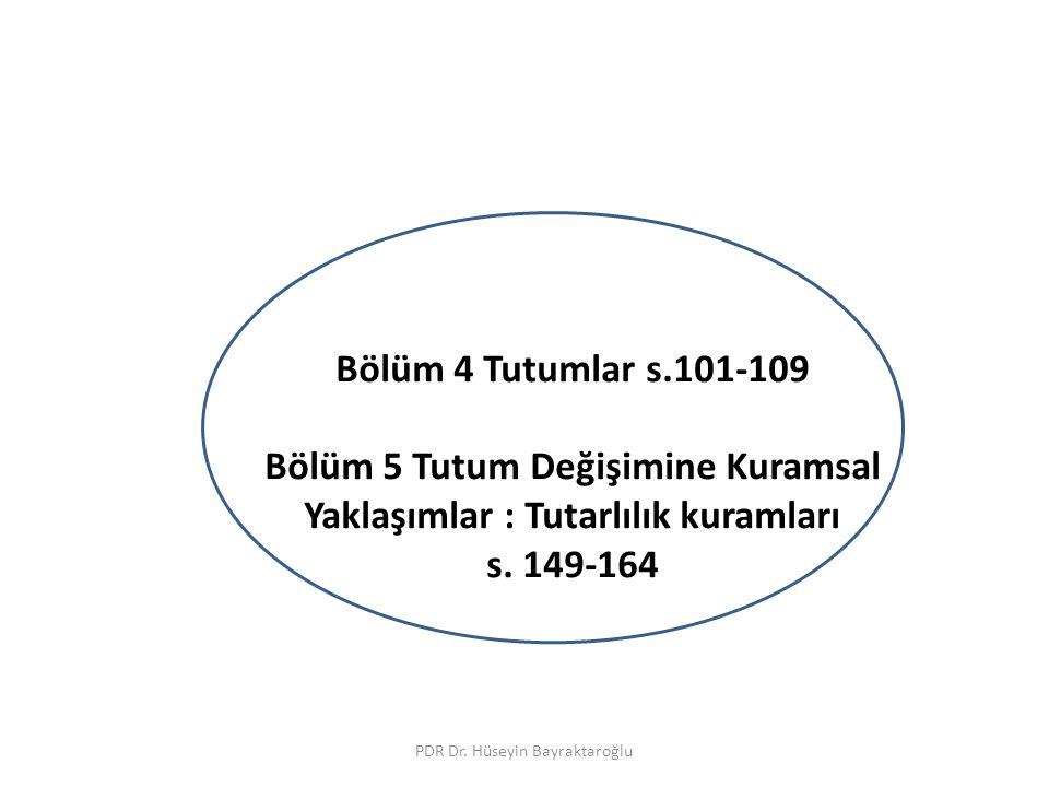 Ders IV Bölüm 4 Tutumlar s.101-109 Bölüm 5 Tutum Değişimine Kuramsal Yaklaşımlar : Tutarlılık kuramları s. 149-164 PDR Dr. Hüseyin Bayraktaroğlu