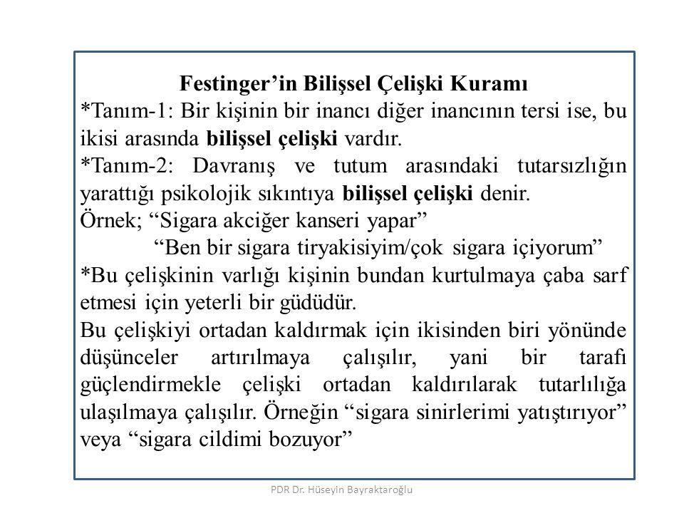 PDR Dr. Hüseyin Bayraktaroğlu Festinger'in Bilişsel Çelişki Kuramı *Tanım-1: Bir kişinin bir inancı diğer inancının tersi ise, bu ikisi arasında biliş