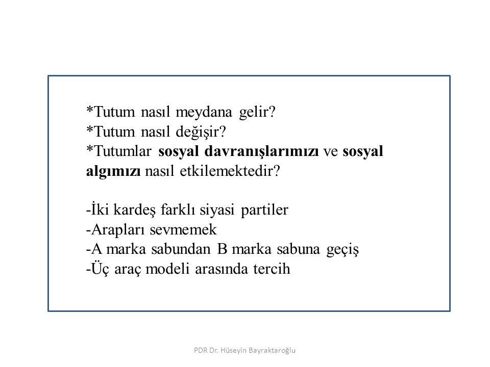TUTUMLAR PDR Dr. Hüseyin Bayraktaroğlu *Tutum nasıl meydana gelir? *Tutum nasıl değişir? *Tutumlar sosyal davranışlarımızı ve sosyal algımızı nasıl et