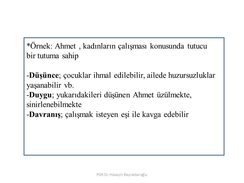 Tutumun öğeleri PDR Dr. Hüseyin Bayraktaroğlu *Örnek: Ahmet, kadınların çalışması konusunda tutucu bir tutuma sahip -Düşünce; çocuklar ihmal edilebili