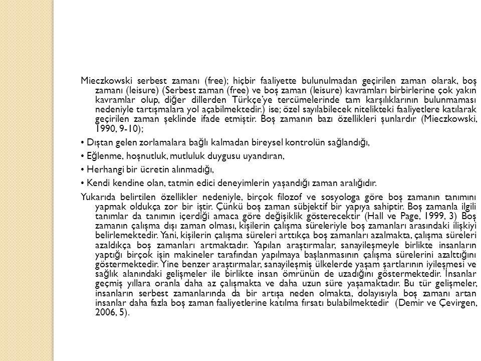 Mieczkowski serbest zamanı (free); hiçbir faaliyette bulunulmadan geçirilen zaman olarak, boş zamanı (leisure) (Serbest zaman (free) ve boş zaman (lei