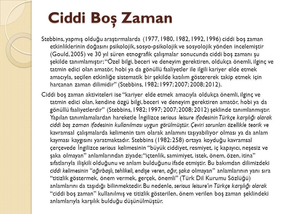 Ciddi Boş Zaman Stebbins, yapmış oldu ğ u araştırmalarda (1977, 1980, 1982, 1992, 1996) ciddi boş zaman etkinliklerinin do ğ asını psikolojik, sosyo-p