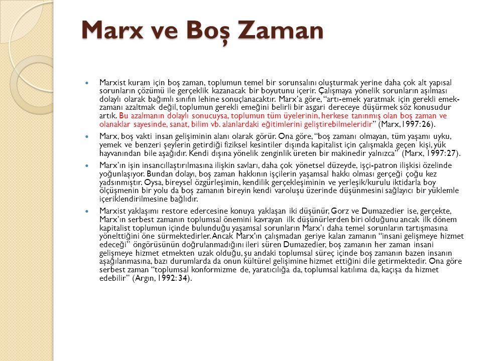 Marx ve Boş Zaman Marxist kuram için boş zaman, toplumun temel bir sorunsalını oluşturmak yerine daha çok alt yapısal sorunların çözümü ile gerçeklik