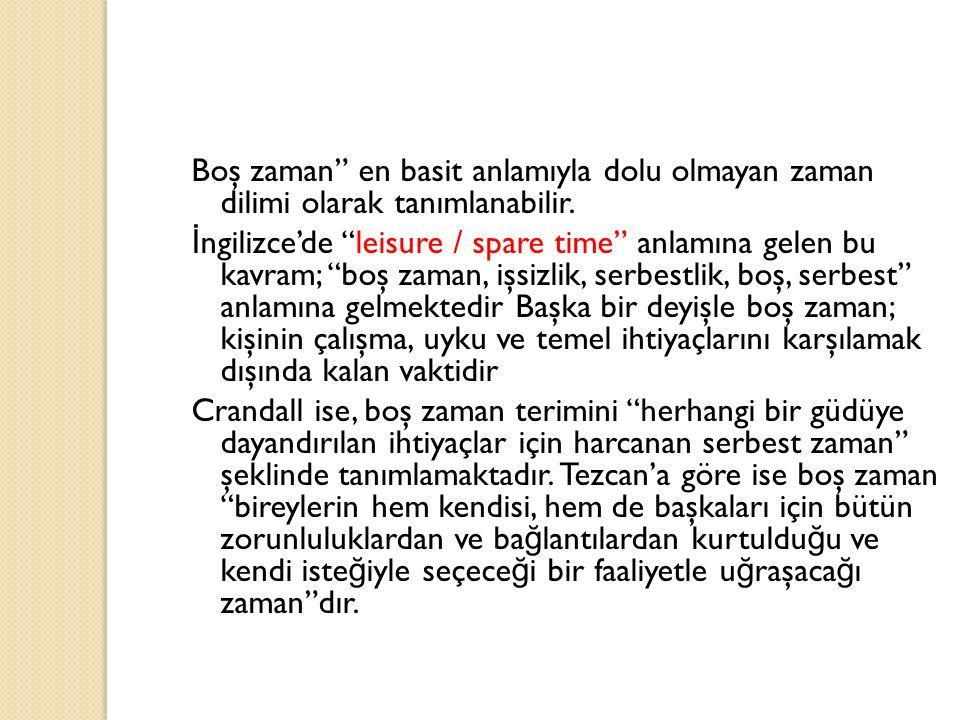 """Boş zaman"""" en basit anlamıyla dolu olmayan zaman dilimi olarak tanımlanabilir. İ ngilizce'de """"leisure / spare time"""" anlamına gelen bu kavram; """"boş zam"""