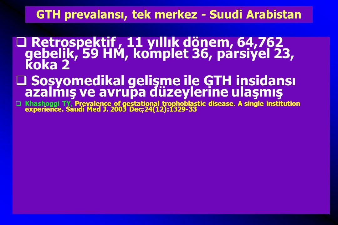GTH prevalansı, tek merkez - Suudi Arabistan  Retrospektif, 11 yıllık dönem, 64,762 gebelik, 59 HM, komplet 36, parsiyel 23, koka 2  Sosyomedikal ge