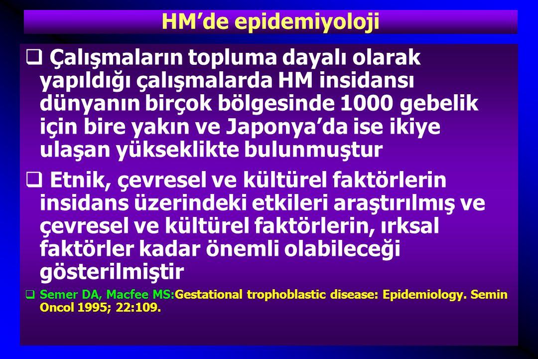 Türkiye'de HM insidansı  Türkiye'den yapılmış 222 yayın içinde insidans veren 24 yayının değerlendirilmesi  Yayınların tümü hastane kaynaklı  Ozalp, SS et al, Hydatidifrom mole in Turkey from 1932 to 2000, Int J Gynaecol Obstet, 2001.