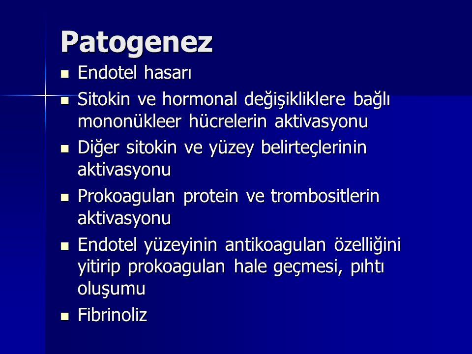 Patogenez Endotel hasarı Endotel hasarı Sitokin ve hormonal değişikliklere bağlı mononükleer hücrelerin aktivasyonu Sitokin ve hormonal değişikliklere