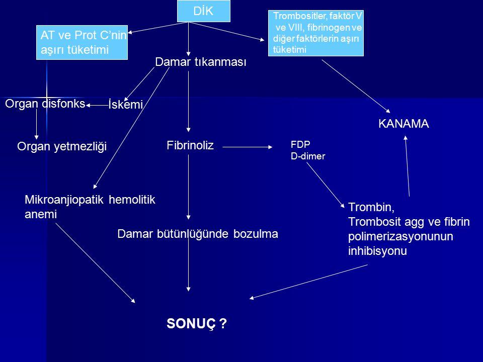 AT ve Prot C'nin aşırı tüketimi Damar tıkanması Trombositler, faktör V ve VIII, fibrinogen ve diğer faktörlerin aşırı tüketimi Fibrinoliz Damar bütünl