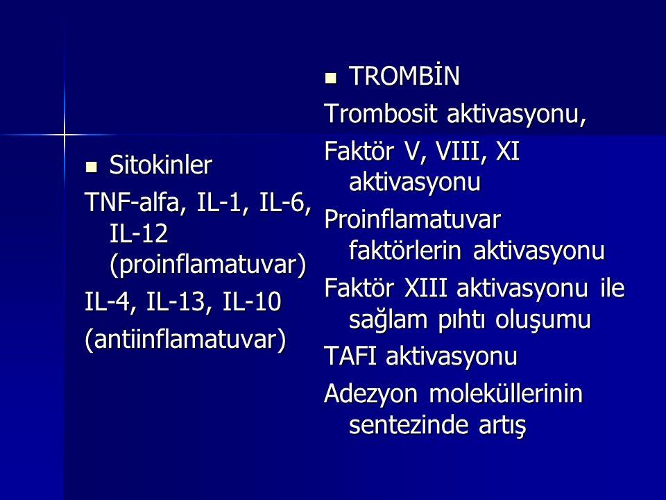 Sitokinler Sitokinler TNF-alfa, IL-1, IL-6, IL-12 (proinflamatuvar) IL-4, IL-13, IL-10 (antiinflamatuvar) TROMBİN TROMBİN Trombosit aktivasyonu, Faktö