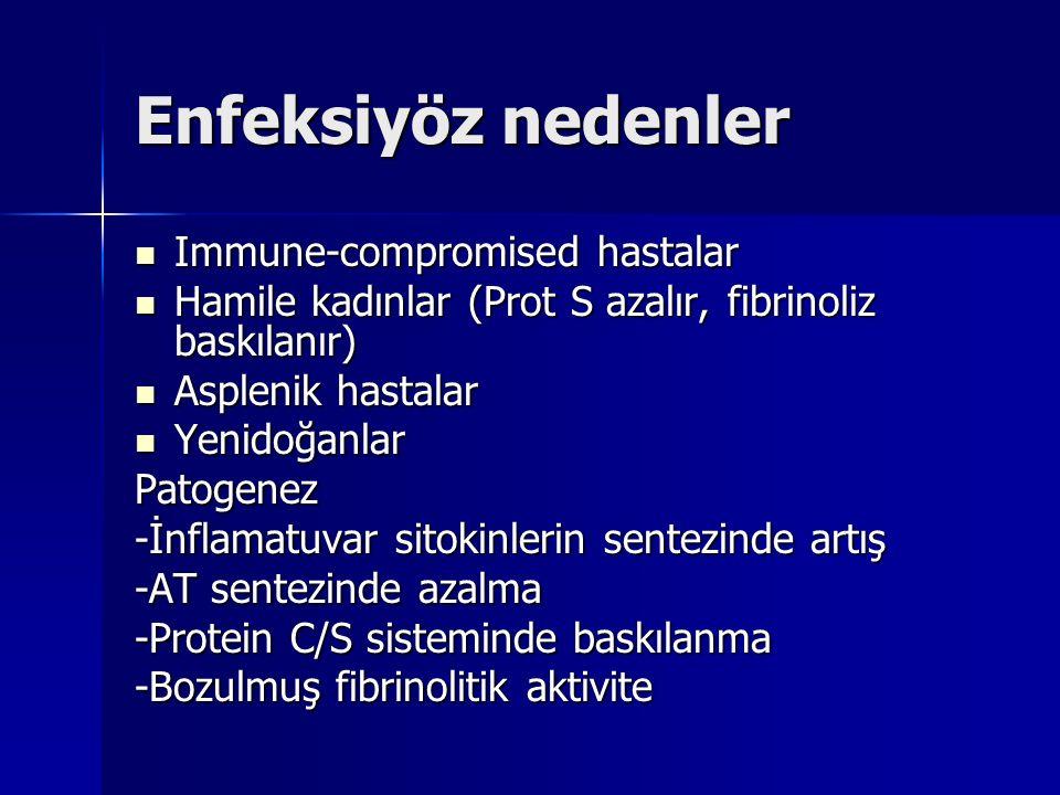 Enfeksiyöz nedenler Immune-compromised hastalar Immune-compromised hastalar Hamile kadınlar (Prot S azalır, fibrinoliz baskılanır) Hamile kadınlar (Pr