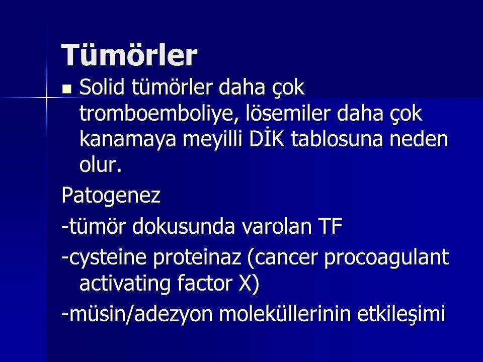 Tümörler Solid tümörler daha çok tromboemboliye, lösemiler daha çok kanamaya meyilli DİK tablosuna neden olur. Solid tümörler daha çok tromboemboliye,