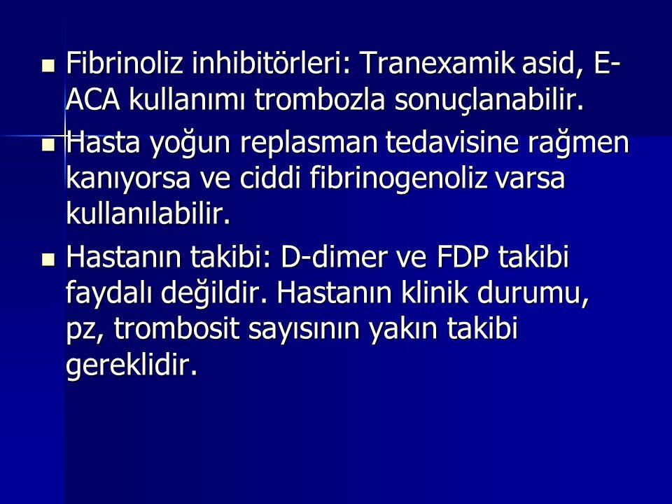 Fibrinoliz inhibitörleri: Tranexamik asid, E- ACA kullanımı trombozla sonuçlanabilir. Fibrinoliz inhibitörleri: Tranexamik asid, E- ACA kullanımı trom