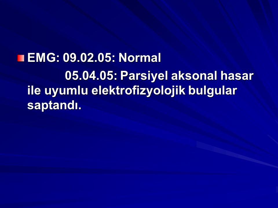 EMG: 09.02.05: Normal 05.04.05: Parsiyel aksonal hasar ile uyumlu elektrofizyolojik bulgular saptandı. 05.04.05: Parsiyel aksonal hasar ile uyumlu ele