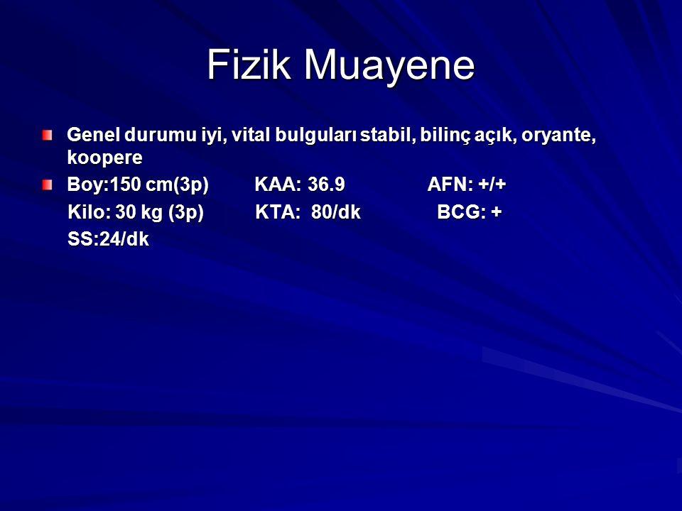 Fizik Muayene Genel durumu iyi, vital bulguları stabil, bilinç açık, oryante, koopere Boy:150 cm(3p) KAA: 36.9 AFN: +/+ Kilo: 30 kg (3p) KTA: 80/dk BCG: + Kilo: 30 kg (3p) KTA: 80/dk BCG: + SS:24/dk SS:24/dk