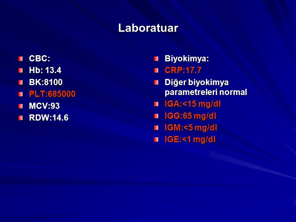 Laboratuar CBC: Hb: 13.4 BK:8100PLT:685000MCV:93RDW:14.6Biyokimya:CRP:17.7 Diğer biyokimya parametreleri normal IGA:<15 mg/dl IGG:65 mg/dl IGM:<5 mg/dl IGE:<1 mg/dl