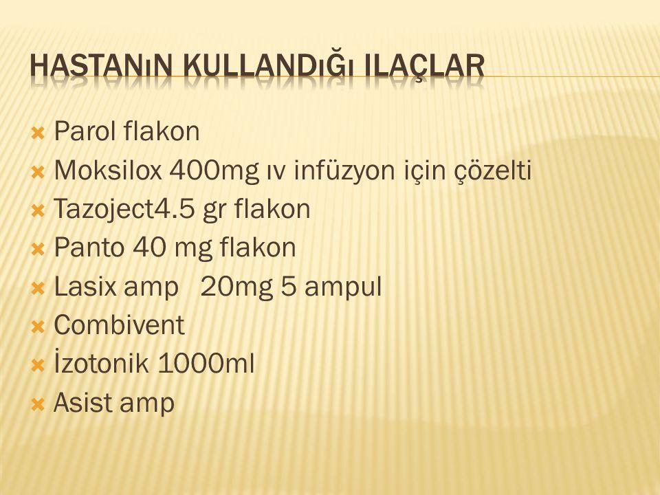  Parol flakon  Moksilox 400mg ıv infüzyon için çözelti  Tazoject4.5 gr flakon  Panto 40 mg flakon  Lasix amp 20mg 5 ampul  Combivent  İzotonik 1000ml  Asist amp